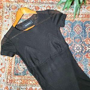 Nanushka Wool Blend Sheer Panel Tee Shirt in Black